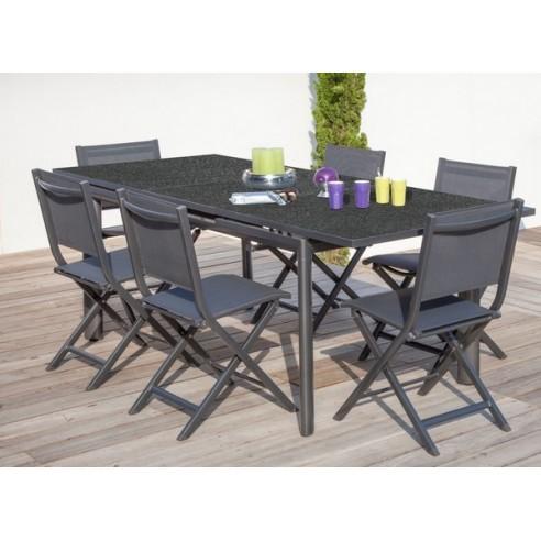 table de jardin floride grey 168 223 plateau verre proloisirs. Black Bedroom Furniture Sets. Home Design Ideas