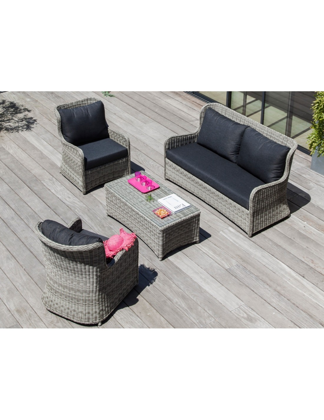 salon de jardin d tente denver 4 personnes r sine tress e. Black Bedroom Furniture Sets. Home Design Ideas