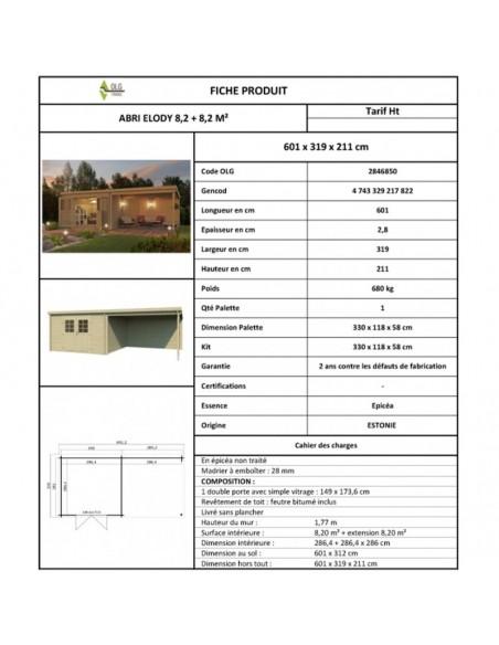 Abri de jardin Elody 17 m² avec auvent en bois massif 28 mm