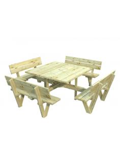 Table pique-niques Arthur 274x274 cm en bois traité autoclave