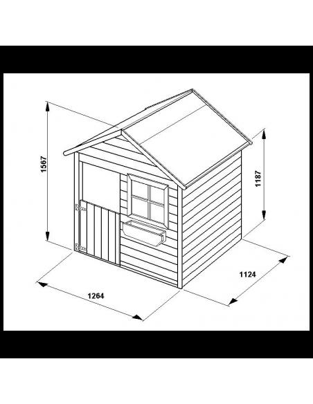 Maisonnette COCCINELLE en bois avec plancher traité
