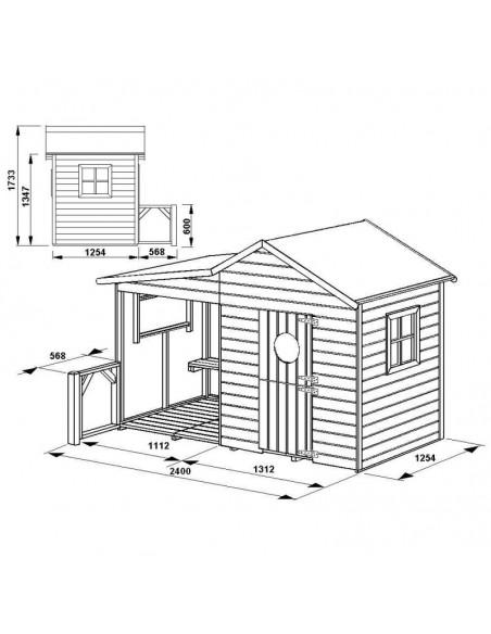 Maisonnette HACIENDA en bois avec plancher traité