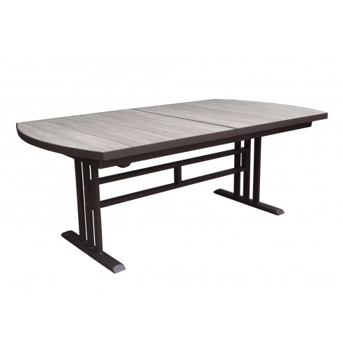 Table TWIG extensible - Aluminium marron - plateau HPL imitation bois