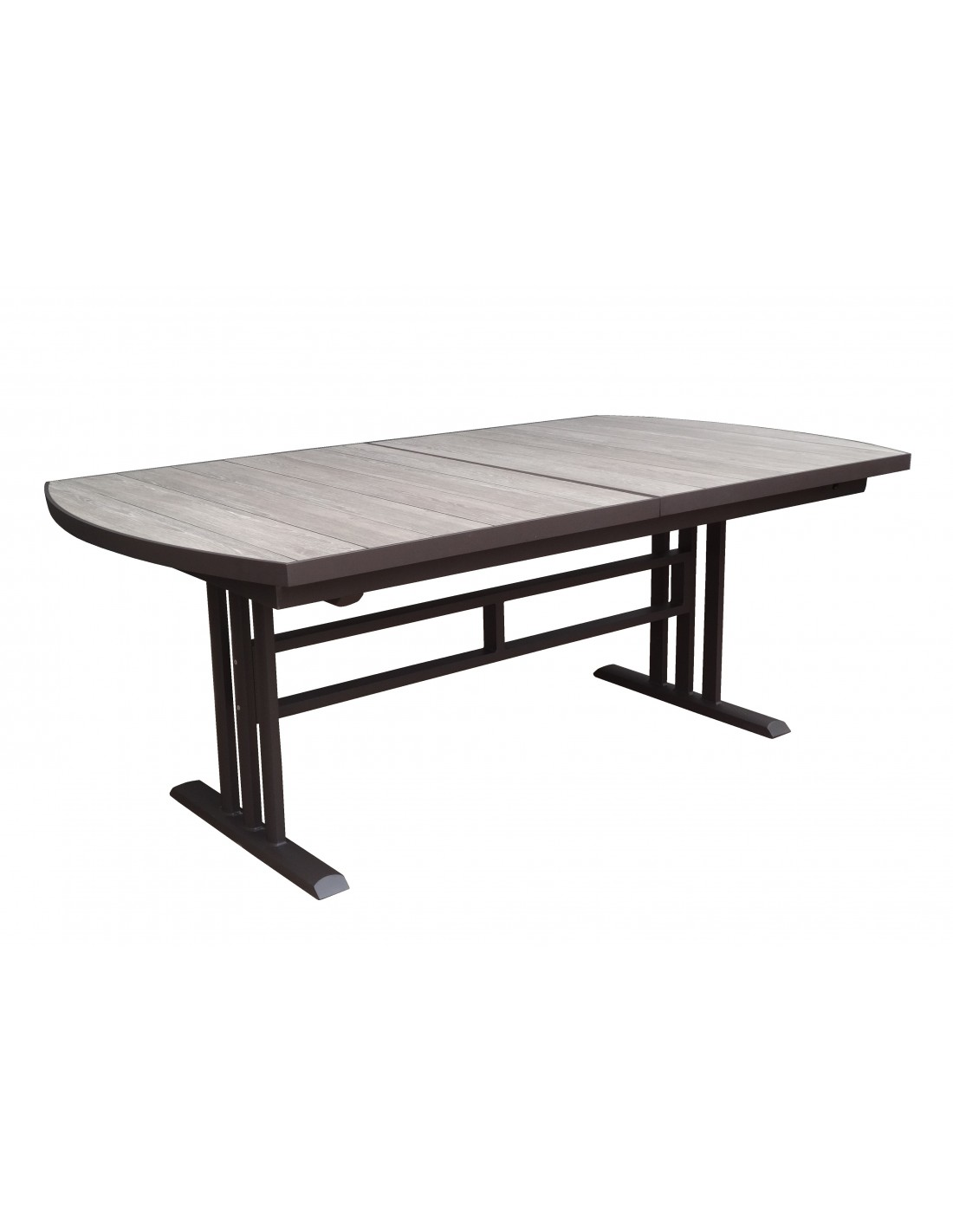 Table twig extensible aluminium marron plateau hpl bois - Table de jardin extensible aluminium ...