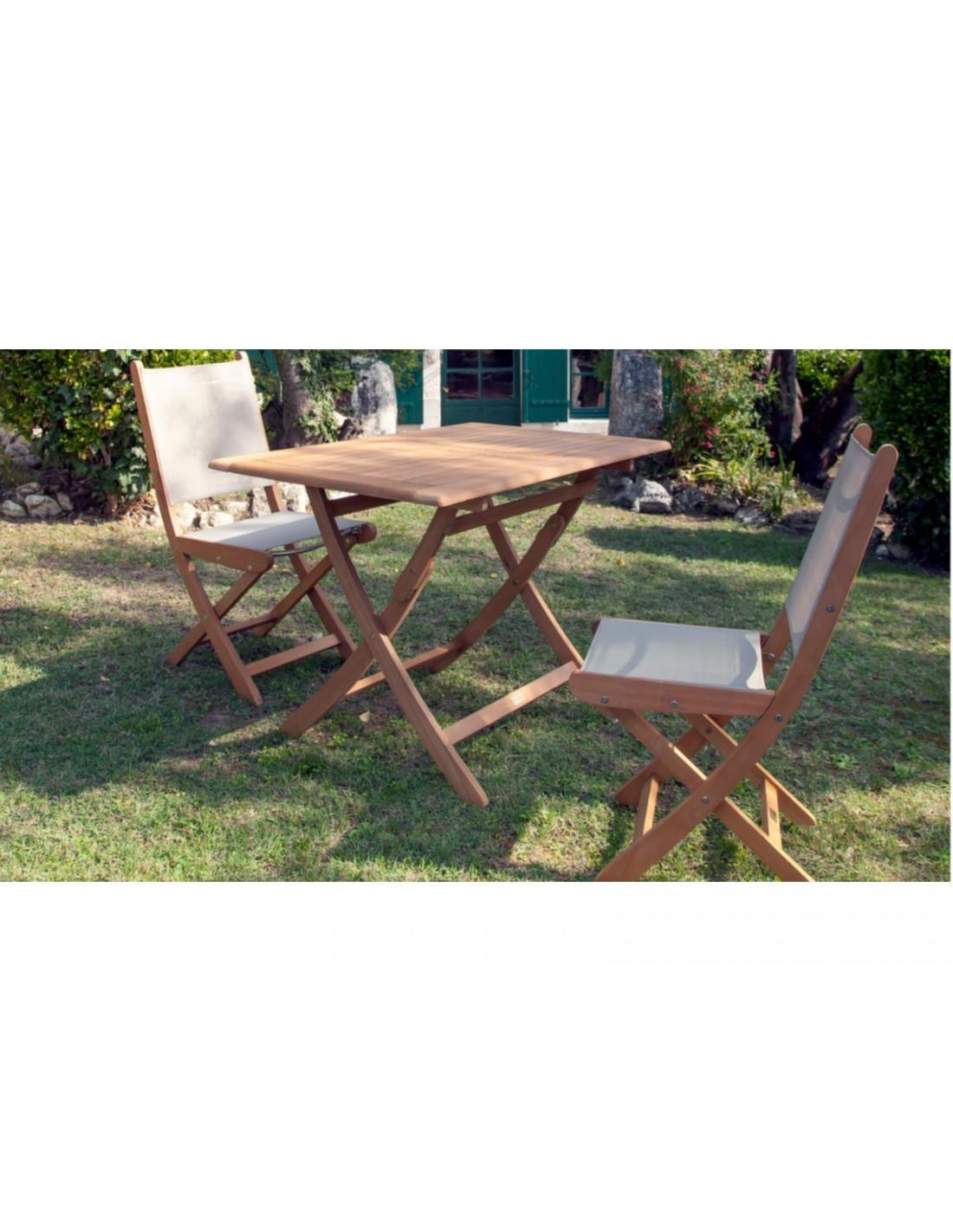 Table Sophie pliante 70x70 cm ou 110x70 cm en Eucalyptus - Proloisirs