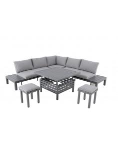 Salon de Jardin Lanza d'angle 7 personnes - Aluminium - MWH