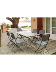 Table de jardin Azua pliante 6 places - Aluminium - Hespéride