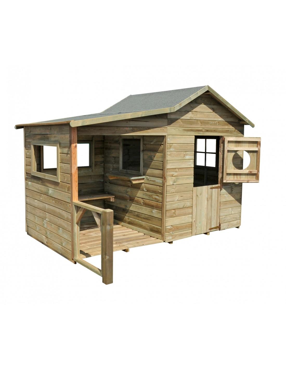 maisonnette hacienda en bois pour enfants plancher trait inclus. Black Bedroom Furniture Sets. Home Design Ideas