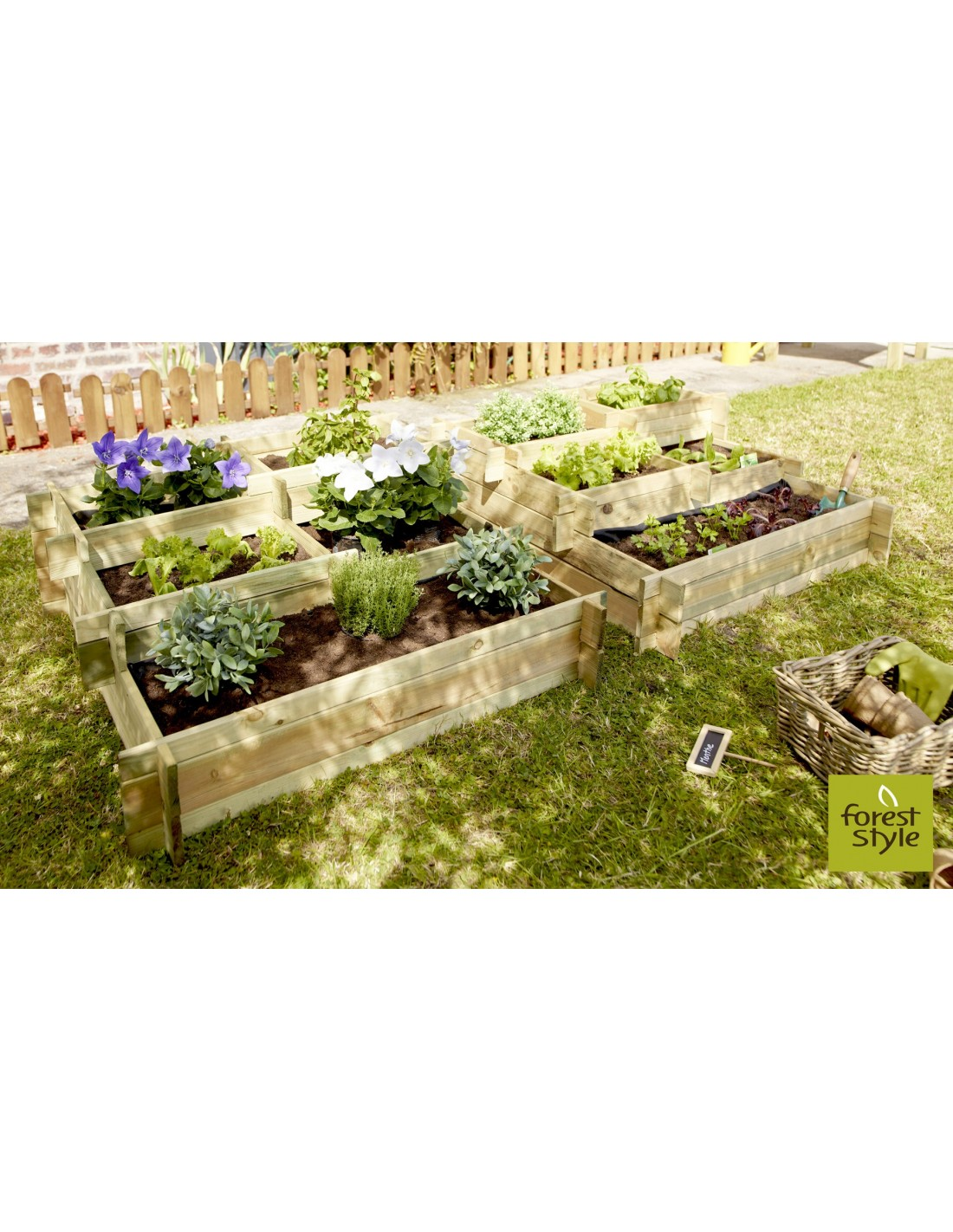 Carre Potager Nikita Forest Style 5 Compartiments Serres