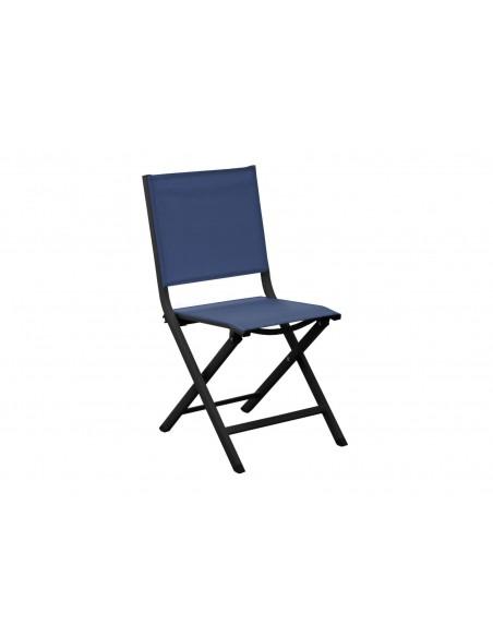 Chaise pliante Thema - Aluminium graphite et Toile bleu - Proloisirs