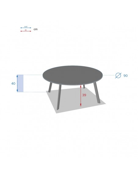 Table d'appoint Saona D.90 cm - Acier époxy - Hespéride