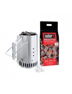 Kit cheminée d'allumage+2kg de briquettes+6 cubes allume-feux weber