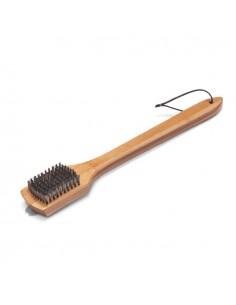 Brosse de nettoyage - Poignée bambou,46cm, poils acier inoxydable Weber